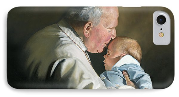 Pope John Paul II With Baby IPhone Case by Cecilia Brendel