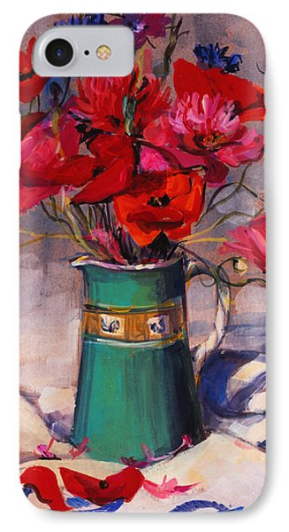 Poppies And Cornflowers In Green Jug IPhone Case by Sue Wales