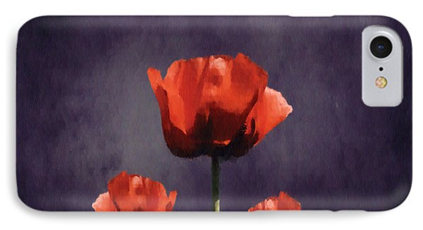 Poppies Fun 01b IPhone Case by Variance Collections