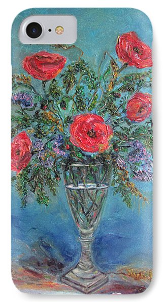 Poppies In A Glass Of Water  IPhone Case by Katia Iourashevich Ricci