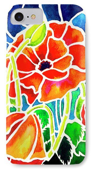 Poppies In Stained Glass Phone Case by Janis Grau