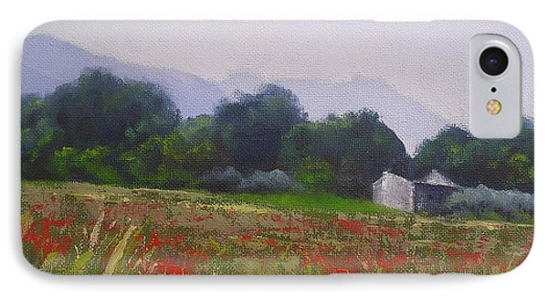 IPhone Case featuring the painting Poppies In Tuscany by Chris Hobel