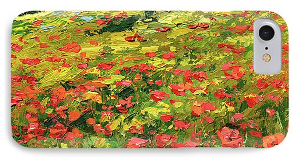IPhone Case featuring the painting Poppies Near The Village by Dmitry Spiros