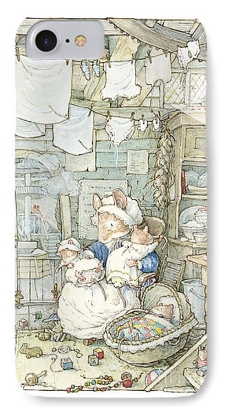 Poppy And Her Babies Sit By The Fire IPhone Case by Brambly Hedge