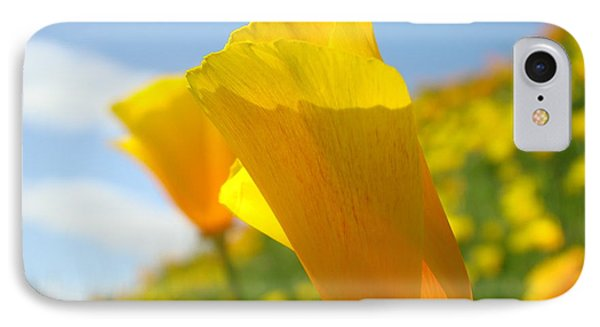 Poppy Flowers Meadow 3 Sunny Day Art Blue Sky Landscape Phone Case by Baslee Troutman