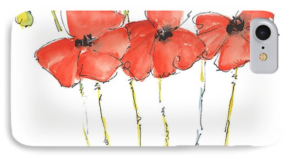 Red Poppy Play IPhone Case by Kathleen McElwaine