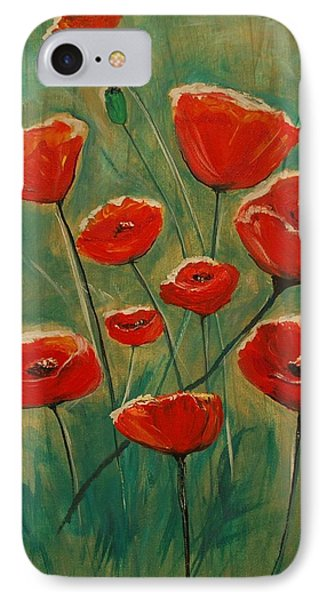IPhone Case featuring the painting Poppy Surprise by Leslie Allen