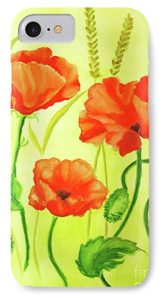 IPhone Case featuring the painting Poppy Trio by Inese Poga