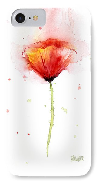 Poppy Watercolor Red Abstract Flower IPhone Case by Olga Shvartsur