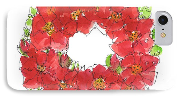 Poppy Wreath IPhone Case by Kathleen McElwaine