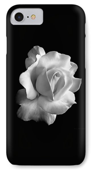 Porcelain Rose Flower Black And White Phone Case by Jennie Marie Schell