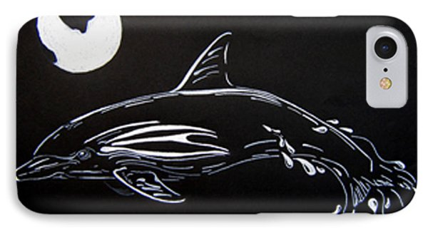 IPhone Case featuring the drawing Porpoise Sillhouette by Mayhem Mediums
