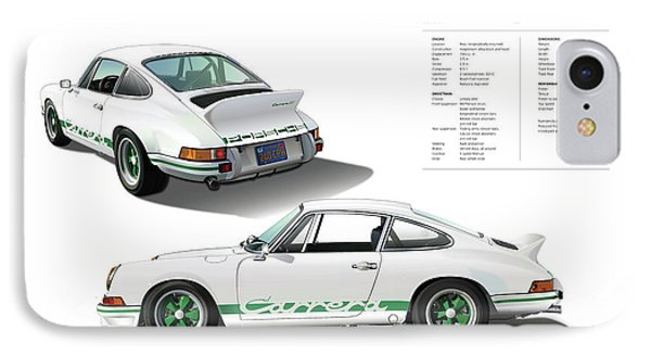 Porsche 911 Carrera Rs Illustration IPhone Case by Alain Jamar