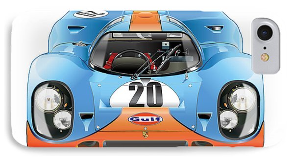 Porsche 917 Gulf On White IPhone Case by Alain Jamar