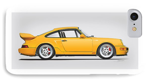 Porsche 964 Carrera Rs Illustration In Yellow. IPhone Case by Alain Jamar