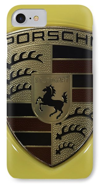 Porsche Emblem On Racing Yellow IPhone Case by Sebastian Musial