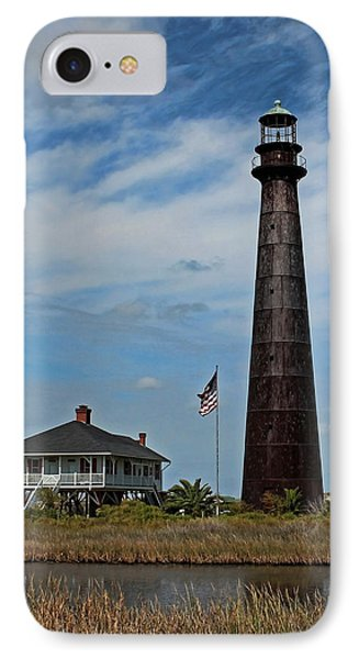 Port Bolivar Lighthouse IPhone Case by Judy Vincent