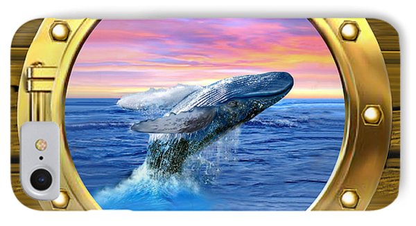 Porthole View Of Breaching Whale IPhone Case by Glenn Holbrook