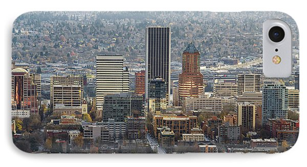 Portland City Downtown Cityscape Panorama Phone Case by David Gn