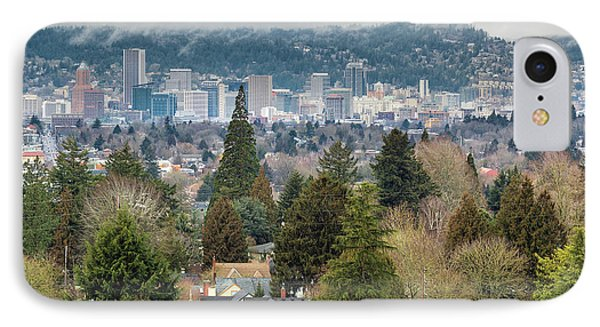 Portland City Skyline From Mount Tabor Phone Case by David Gn