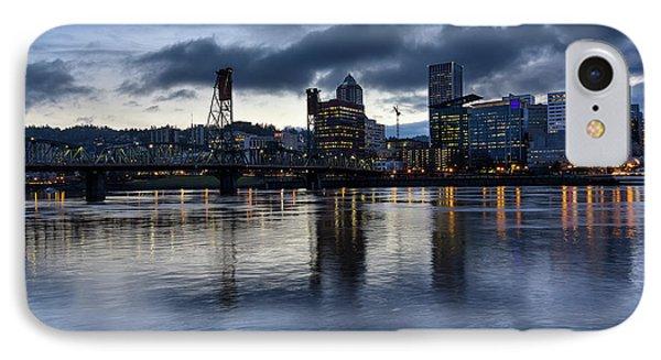 Portland City Skyline With Hawthorne Bridge At Dusk Phone Case by David Gn