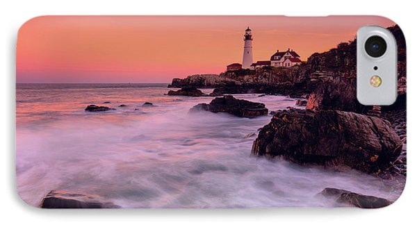 IPhone Case featuring the photograph Portland Head Light In Pink  by Emmanuel Panagiotakis