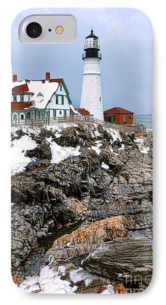 IPhone Case featuring the photograph Portland Head Light In Winter by Olivier Le Queinec