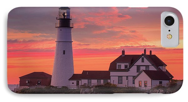 IPhone Case featuring the photograph Portland Head Light Sun Set  by Emmanuel Panagiotakis