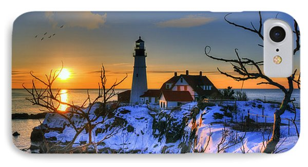Portland Head Light Sunrise - Maine IPhone Case by Joann Vitali