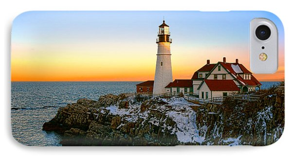 IPhone Case featuring the photograph Portland Head Light Winter Sunset by Olivier Le Queinec