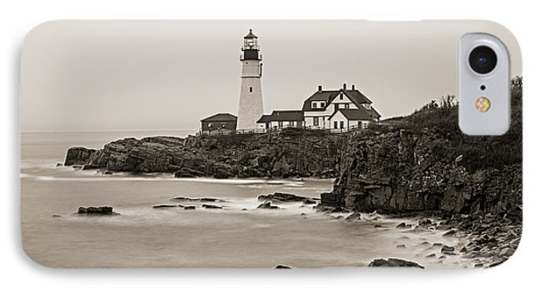 Portland Head Lighthouse Foggy Morning Sepia IPhone Case