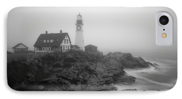 Portland Head Lighthouse In Fog Black And White IPhone Case