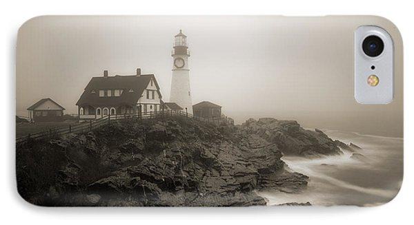 Portland Head Lighthouse In Fog Sepia IPhone Case