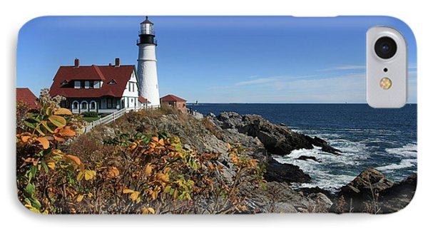 Portland Head Lighthouse In The Fall IPhone Case by Lou Ford