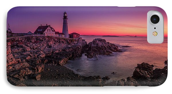 IPhone Case featuring the photograph Portland Head Lighthouse Sunrise  by Emmanuel Panagiotakis
