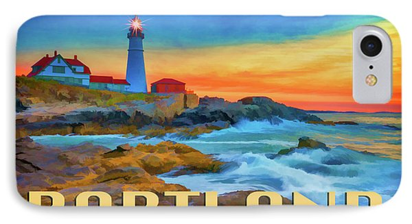 Portland Head Lighthouse Vintage Travel Poster IPhone Case by Rick Berk