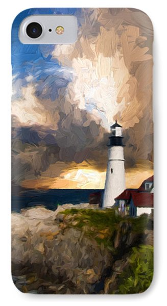 Portland Lighthouse In A Storm IPhone Case