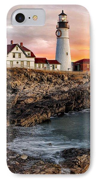 Portland Lighthouse Sunrise IPhone Case by Susan Candelario