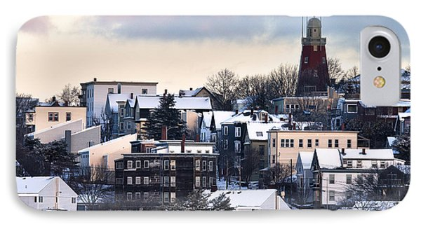 Portland Observatory Winter Skyline IPhone Case by Eric Gendron