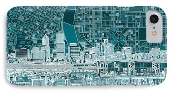 Portland Skyline Abstract 10 IPhone Case