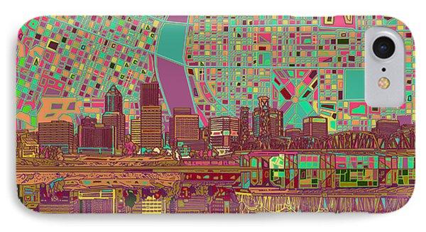 Portland Skyline Abstract 2 IPhone Case