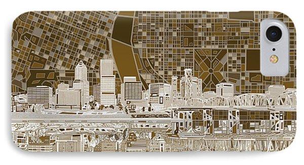 Portland Skyline Abstract 6 IPhone Case
