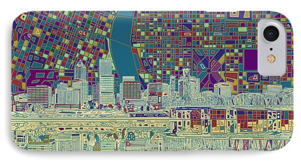 Portland Skyline Abstract 7 IPhone Case