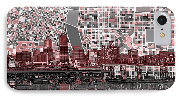 Portland Skyline Abstract 8 IPhone Case
