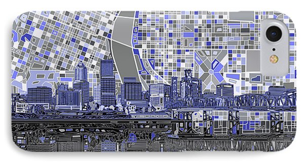 Portland Skyline Abstract Nb IPhone Case by Bekim Art