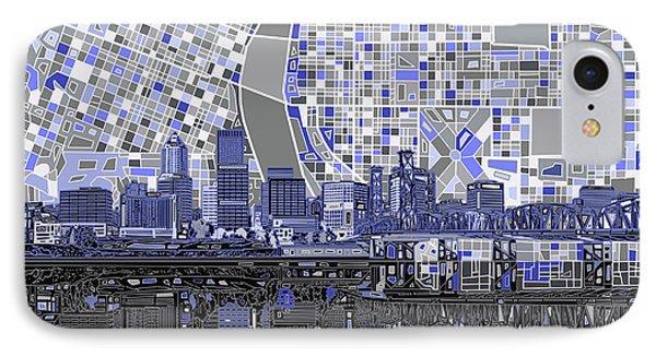 Portland Skyline Abstract Nb IPhone Case by Bekim Art