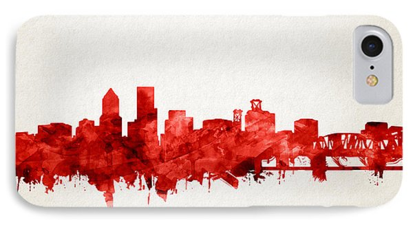 Portland Skyline Watercolor 3 IPhone Case