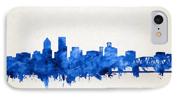 Portland Skyline Watercolor 4 IPhone Case