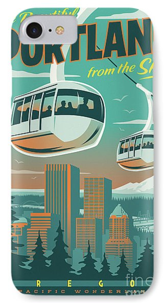 Portland Tram Retro Travel Poster IPhone Case by Jim Zahniser