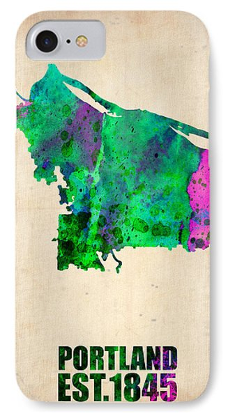 Portland Watercolor Map IPhone Case by Naxart Studio